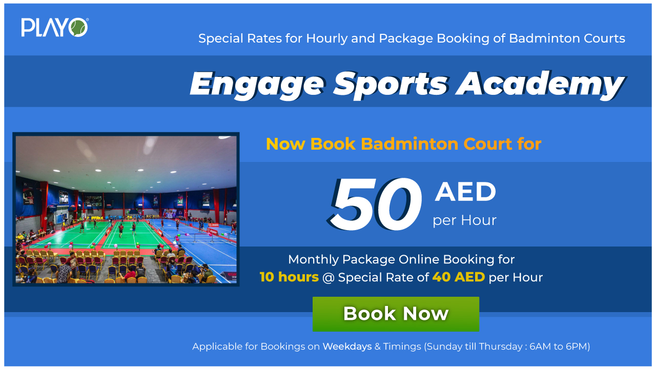 Engage Sports Special Rates for Hourly and Package Booking of Badminton Courts